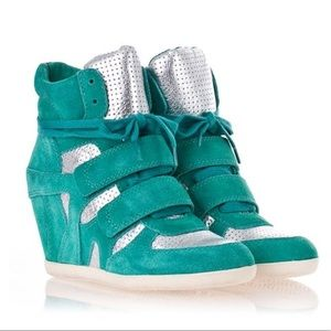 Ash bowie turquoise wedge sneakers
